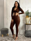 Two Piece Outfits Ruched Front Crop Top And Leggings Matching Pants Set