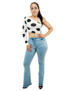 White And Black Polka Dot One Shoulder Long Sleeve Crop Top
