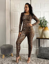 Leopard Print Long Sleeve Jumpsuit Bodycon