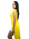 Yellow  Long Line Split Front Top Shirt V-Neck Short Sleeve Wrap Look