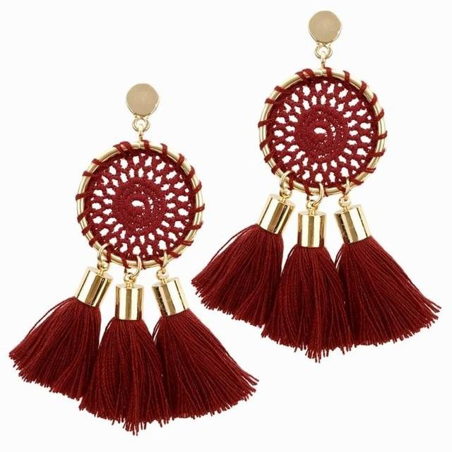 Vintage Ethnic Net Weaving Fringe Earrings Drop Tassel Bohemian Beach Dangle
