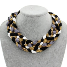 Load image into Gallery viewer, Wide Braided Choker Chunky Statement Necklace