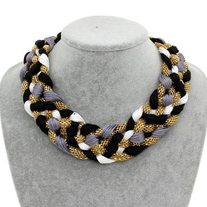 Wide Braided Choker Chunky Statement Necklace