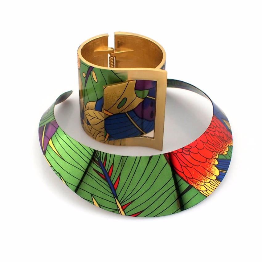 Country Style Multi Color Painting Wide Cuff Bangles Bracelet  And Necklace Sets