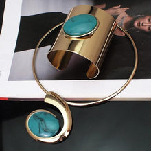 Load image into Gallery viewer, Wide Cuff Open Bangle Bracelet Big Oval Resin Statement And Necklace Sets
