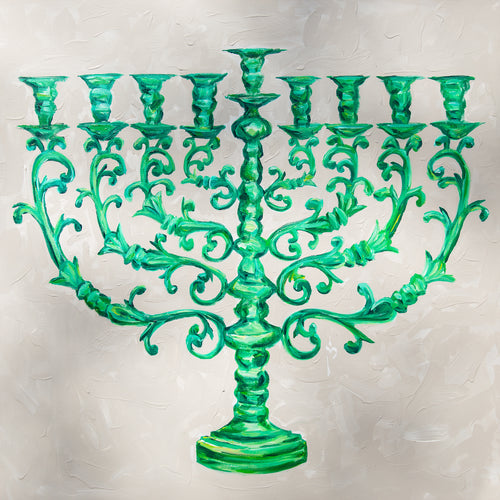 Green Menorah / Original Painting