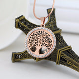 collier arbre de vie strass or rose