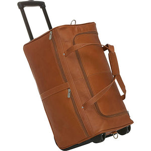 "Piel Leather Travel 22"" Duffel on Wheels - Lexington Luggage"