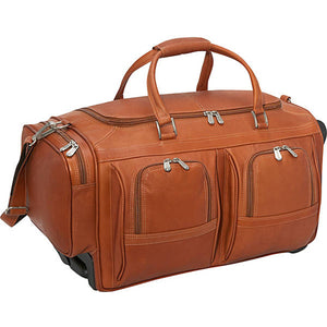 "Piel Leather Travel 20"" Duffel with Pockets on Wheels - Lexington Luggage"