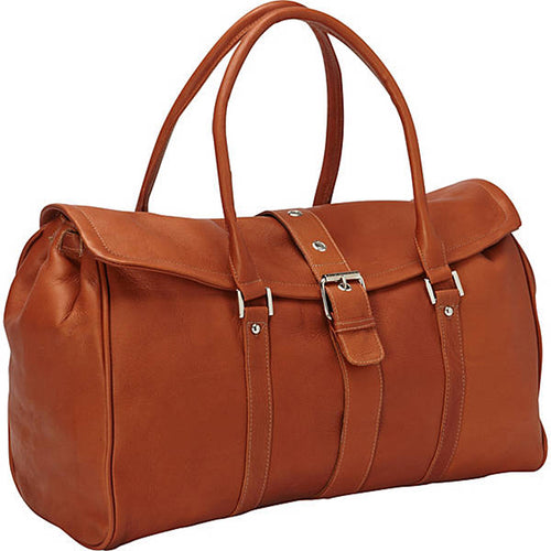 Piel Leather Travel Buckle Flap-Over Satchel - Lexington Luggage