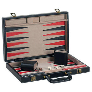 "CHH Games 18"" Black Leatherette Backgammon Set - Lexington Luggage"