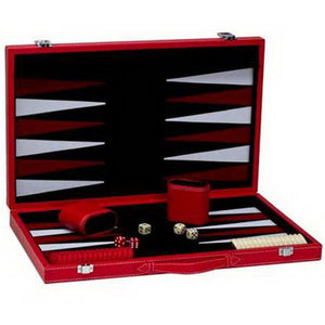 "CHH Games 18"" Red Leatherette Backgammon Set - Lexington Luggage"