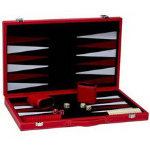 "CHH Games 15"" Red Leatherette Backgammon Set - Lexington Luggage"