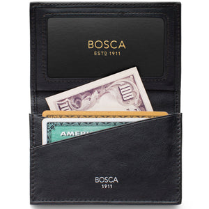 Bosca Nappa Vitello Gusset 2 Pocket Card Case w/ID - RFID - Lexington Luggage