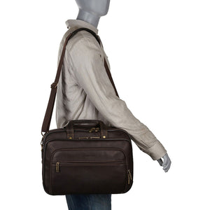 "Heritage Colombian Leather Dbl Comp Top Zip EZ-Scan 15.6"" Computer Portfolio - Lexington Luggage"