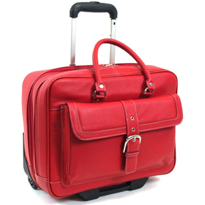 "Heritage Leather Dbl Comp Top Zip Wheeled 15.6"" Portfolio/Overngihter - Lexington Luggage"