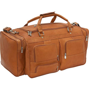"Piel Leather Travel 24"" Duffel With Pockets - Lexington Luggage"