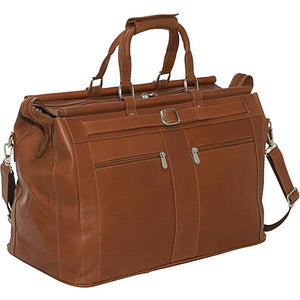 Piel Leather Travel Carpet Bag with Pockets - Lexington Luggage