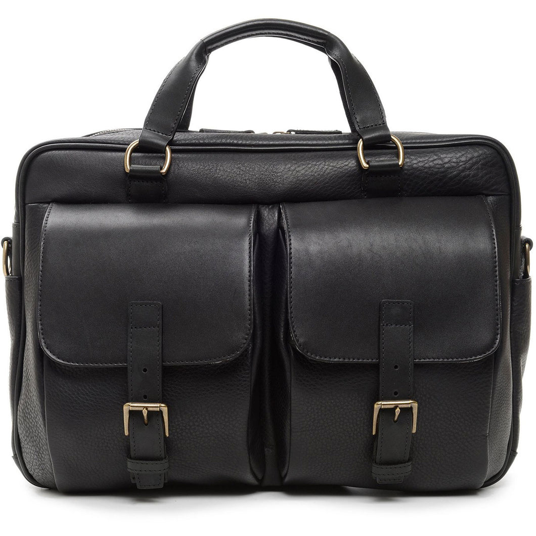 Korchmar Milled Collection Barton Leather Laptop Briefcase - Lexington Luggage