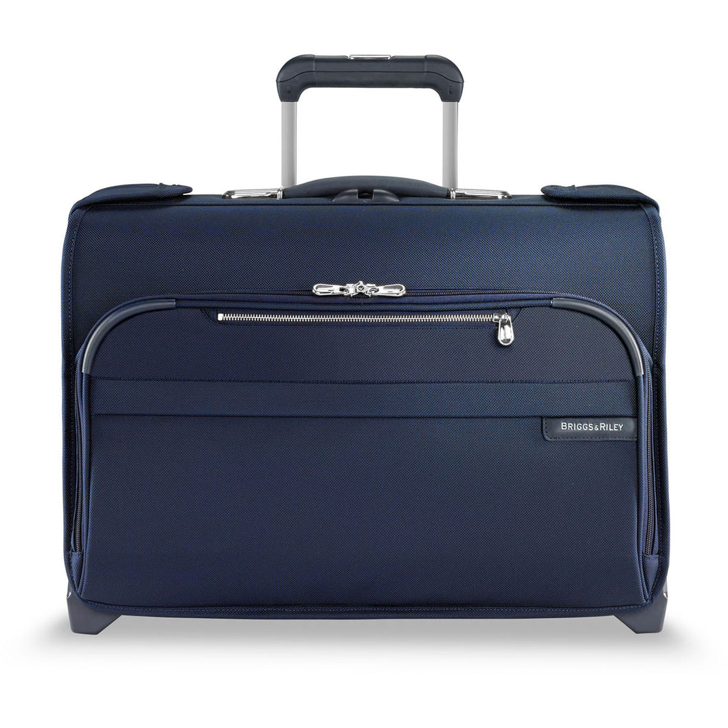 Briggs & Riley Baseline Navy Carry On Wheeled Garment Bag - Lexington Luggage