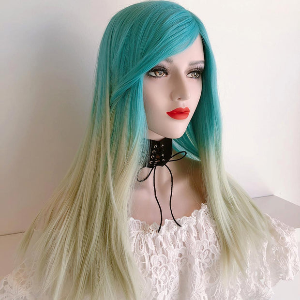 "Her Wig Closet 20"" Mermaid Pastel Ocean Blue/Blonde Wig"