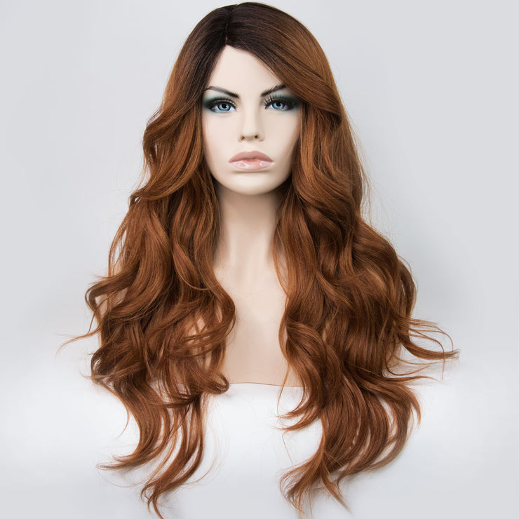 "Her Wig Closet 30"" Caramel Reddish Light Brown with Black Roots Wavy Synthetic Wig"