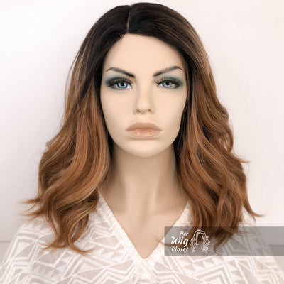 Dark Brown Copper Blonde Ombre Wavy Lace Wig 12"