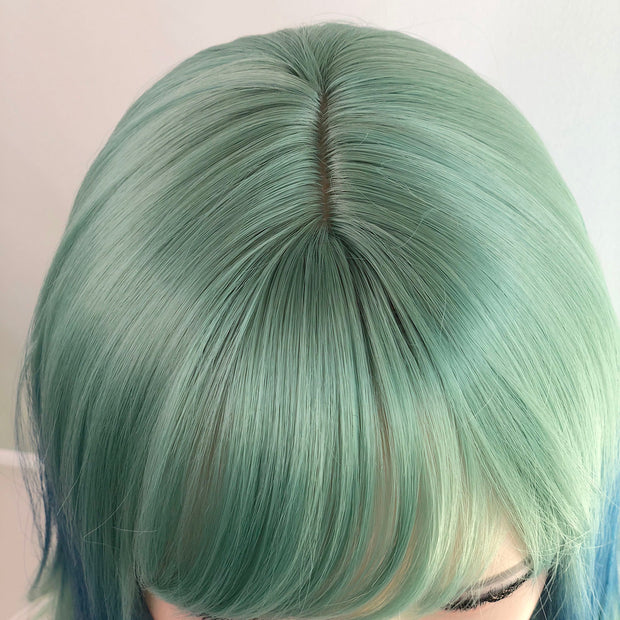Pastel Blue with Green Sea Foam Ombre Synthetic Wig with Bangs Her Wig Closet Ariel