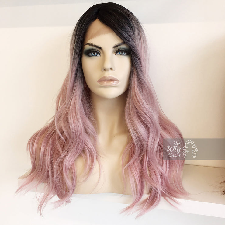 "Ashley | Silver/Pink Ombre Lace Front Wig 20"" Her Wig Closet"