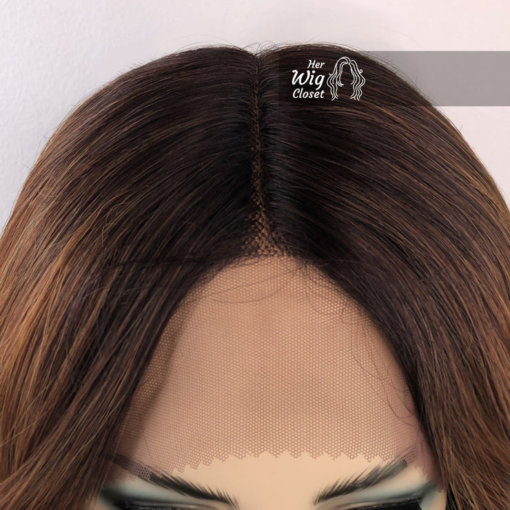 Dark Roots Copper Blonde Ombre Wavy Lace Wig 16"