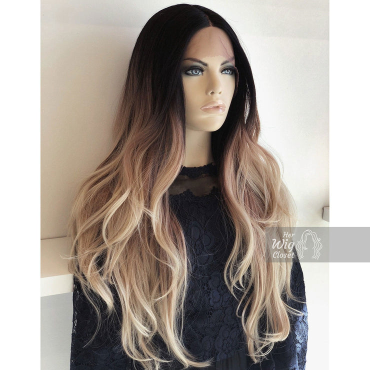 "Chloe | 26"" Ombre Ash Blonde Wig Dark Roots Her Wig Closet"