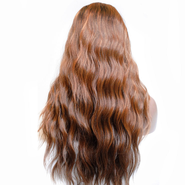 Elaine | Brown/Red Wavy Lace Front Wig 24""