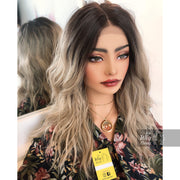 "Elizabeth | 16"" Ombre Ash Blonde Wig Dark Roots Her Wig Closet"