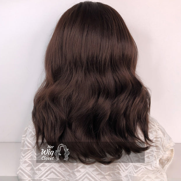Dark Brown Brunette Wavy Lace Wig 12"