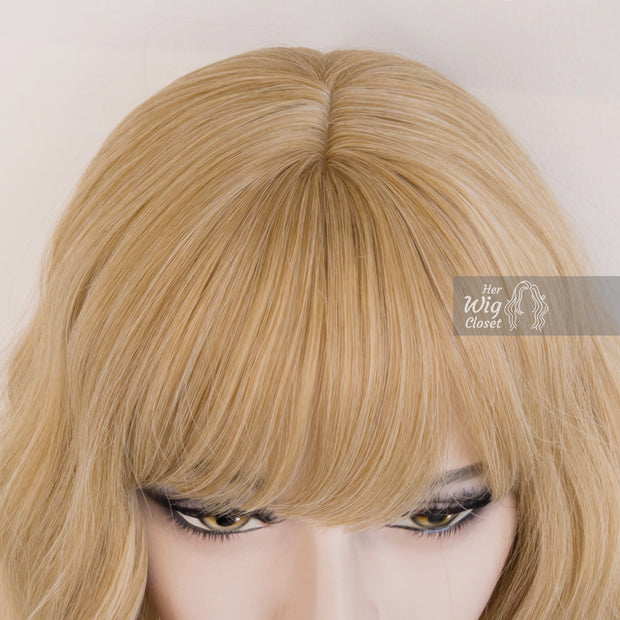 Golden Blonde Wavy Wig with Bangs | Gwen Her Wig Closer