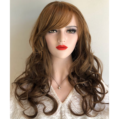 "Hanna | 20"" Wavy Golden Brown with Bangs Synthetic Wig"