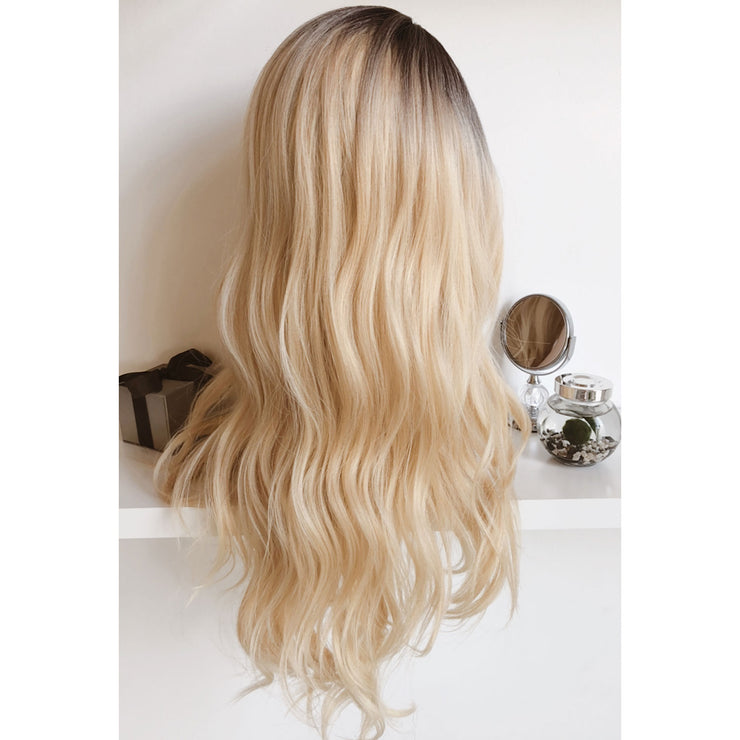 "Her Wig Closet Ariana 30"" Side Part Golden Blonde Ombre Wavy Synthetic Wig for fashion and cosplay"