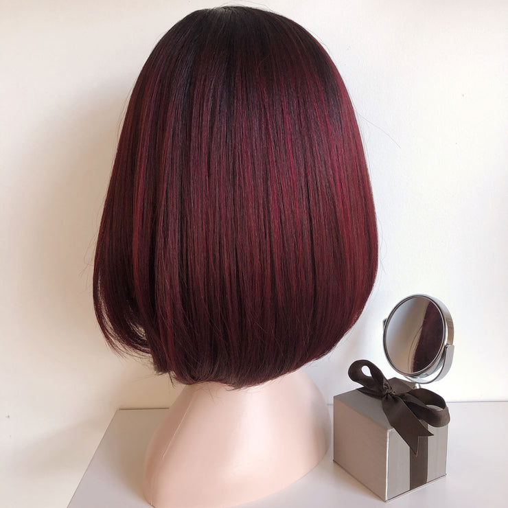 Alice | Wine with Black roots Straight Bob Wig 12""