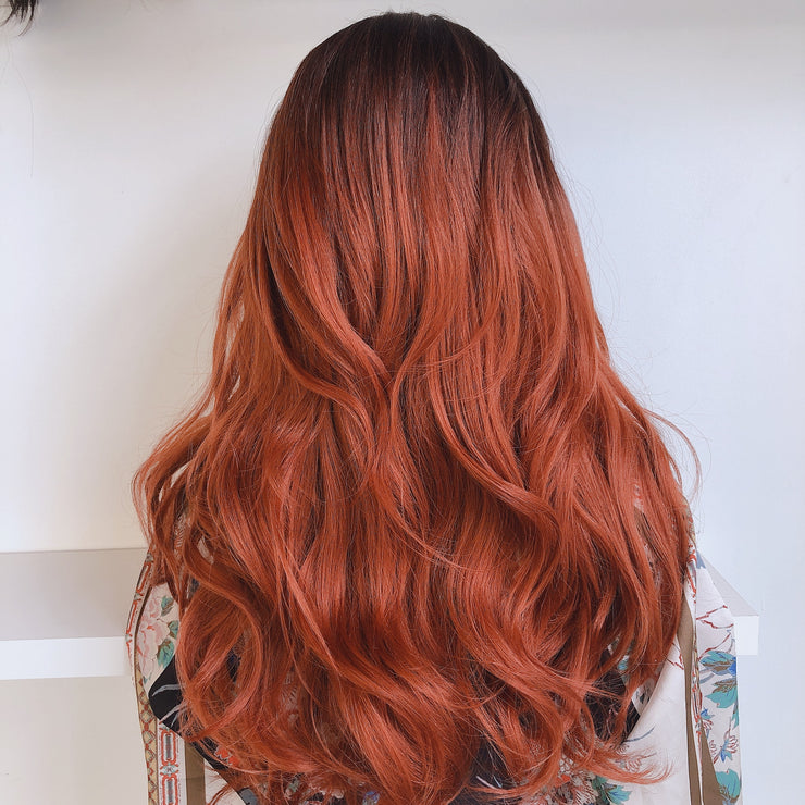 "Her Wig Closet Sophia Red Copper Ombre Wavy Synthetic Wig 22"" Fashion Cosplay Party Wedding Hair"