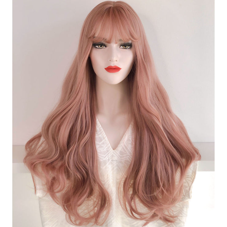 "24"" Ashy Pink Wig With Bangs