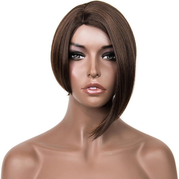 "Joslyn | 12"" Side Part Medium Brown Asymmetrical Cut Bob Wig"
