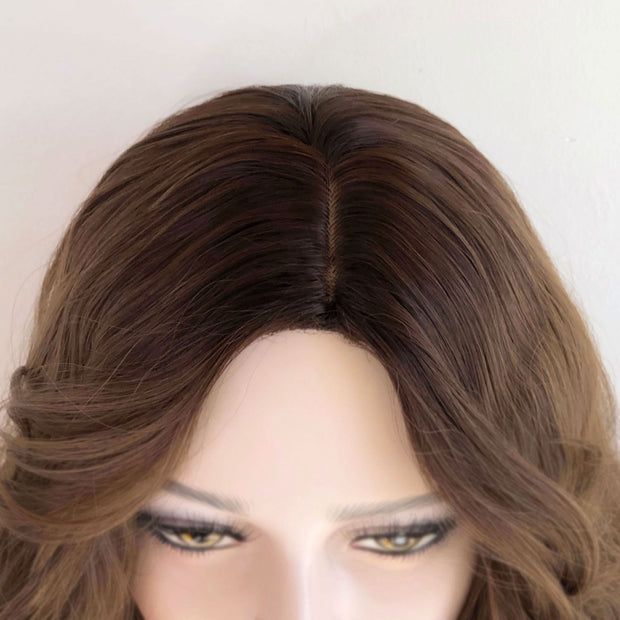 "24"" Dark Root Honey Blonde Ombre Wavy Wig 