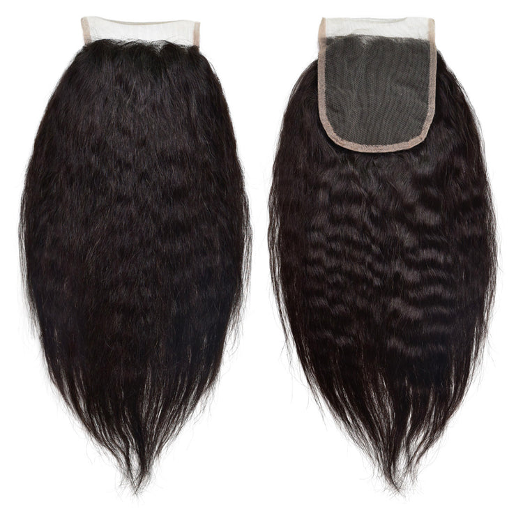 Swiss Lace Kinky Relaxed Straight Closure Human Virgin Hair Unprocessed Brazilian Straight Natural Color