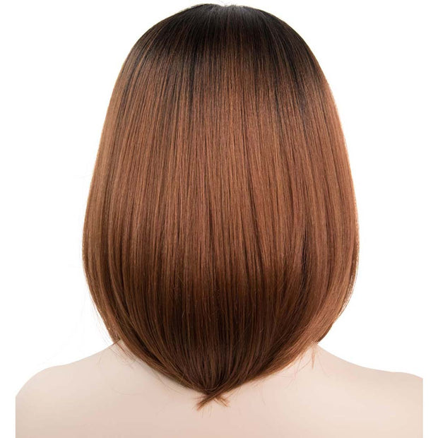 "Lauren Chestnut Brown with Black roots Straight Mono-top Bob Wig 12"" Her Wig Closet"