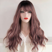 "20"" Dark root with dusty pink ombre wig with bangs 