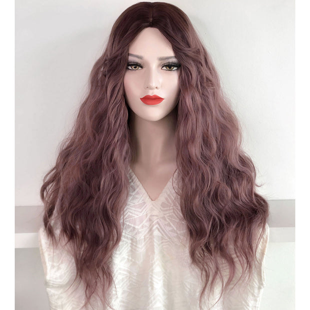 "24"" Dark Root Dusty Pink Ombre Wavy Wig 