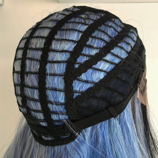 "Sapphire | 20"" Black Roots Blue/White Ombre Wavy Lace Wig"