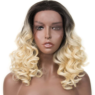 "Stella | 14"" Dark Root Curly Blonde Lace Front Wig"