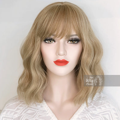 Ashy Blonde Wavy Wig with Bangs | Alicia Her Wig Closet