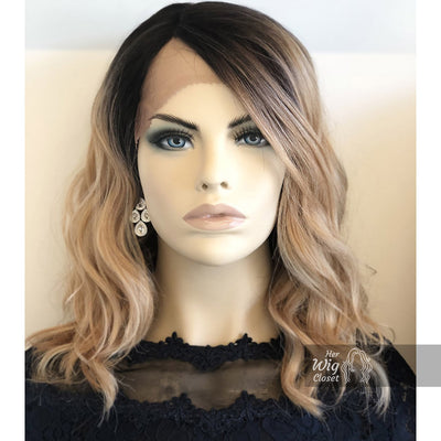 "Angelina | 14"" Blonde Ombré with Black Roots Wavy Side-Part Wig Her Wig Closet"